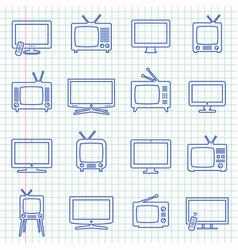 tv isolated pictograms on notebook sheet vector image