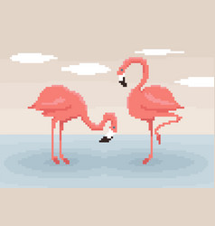 two pixel art flamingos are standing in water vector image