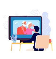 video call with parents online family chat vector image