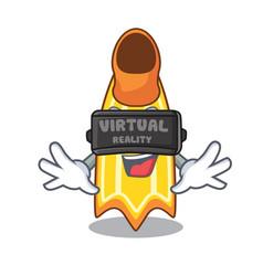 Virtual reality swim fin mascot cartoon vector