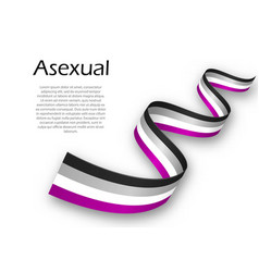 Waving ribbon or banner with asexual pride flag vector
