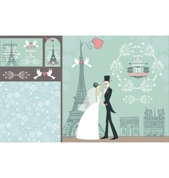Wedding invitation setBridegroomParis Winter vector image