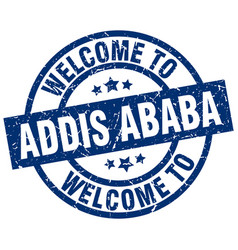 Welcome to addis ababa blue stamp vector