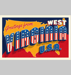 west virginia usa july 4th retro postcard vector image
