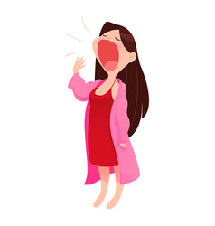 Woman in nightwear and robe standing yawn vector