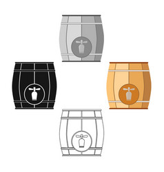 Wooden barrel with a tap icon in cartoonblack vector