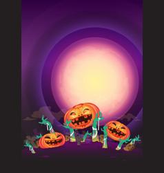 at night halloween pumpkin and zombies hands wave vector image vector image