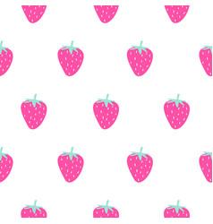 bright pink strawberry summer juicy cartoon vector image