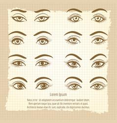 female eyes vintage poster design vector image vector image