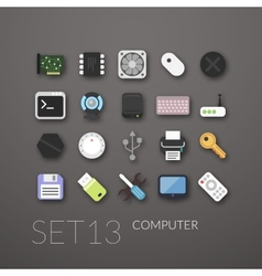 Flat icons set 13 vector image vector image