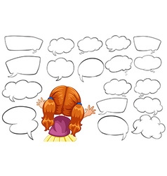 Girl and different shapes of speech bubbles vector image