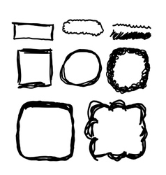 Hand drawn frames lines and circle collection vector image