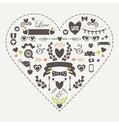Hipster silhouette love and romantic icons set vector image