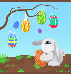 little gray rabbit with the easter eggs hanging on vector image