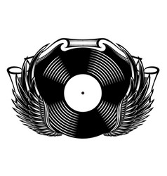 monochrome banner with vinyl and wings vector image