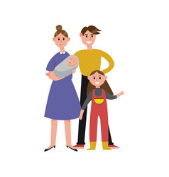 parents with their two children cartoon characters vector image vector image