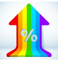 Rainbow grow up arrow with percent sign vector image vector image
