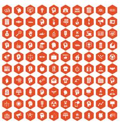 100 idea icons hexagon orange vector