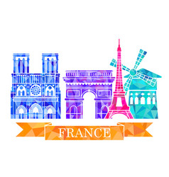architectural landmarks of paris in polygonal vector image vector image