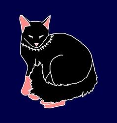 black cat sleeping on blue background vector image