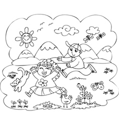 Children playing in countryside vector image vector image