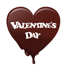 Chocolate heart melts He wore a white label with vector image
