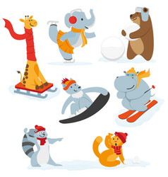 cute animal characters doing winter activities vector image vector image