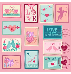 Love Stamps - for Wedding Valentines Day vector image vector image