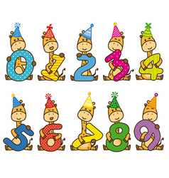 set giraffes with numbers vector image