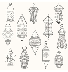 Set of old lamps Lantern dark silhouettes vector image vector image