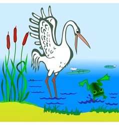 Stork and Frog vector image vector image