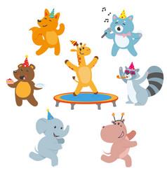 Animal characters having fun at birthday party vector
