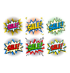 black friday sale set comic style template vector image vector image