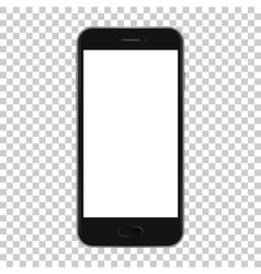 Black smart phone isolated on transparent vector image vector image