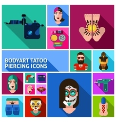 Bodyart Tattoo Piercing Images Set vector image