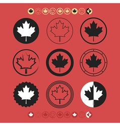 Canadian silhouette and line maple leaf icons set vector image