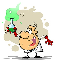 Crazy Scientist Holds Bubbling Beaker Of Chemicals vector image