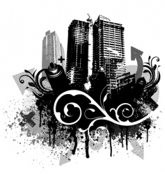 grunge city vector image