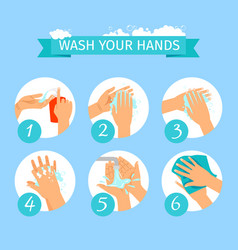 people hands washing hygiene infographic vector image