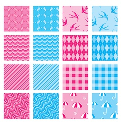 Set of fabric textures in pink and blue colors - s vector image