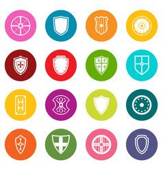 shield frames icons many colors set vector image vector image