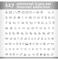117 Universal Icons Set Collection vector image