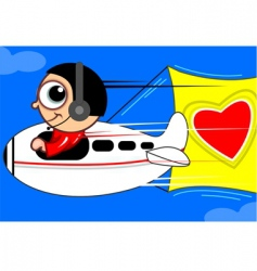 aero plane with love vector image vector image