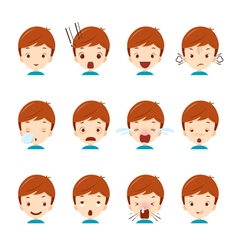 Cute boy emoticons set vector image