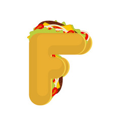 letter f tacos mexican fast food font taco vector image vector image