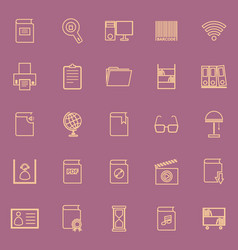 library line color icons on purple background vector image vector image