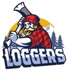 lumberjack mascot swinging the axe vector image vector image