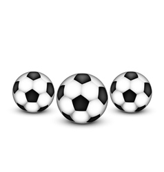 Three soccer ball on a white background vector image vector image