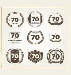 70 years anniversary logo set vector