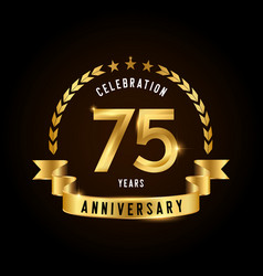 75 years anniversary celebration logotype golden vector